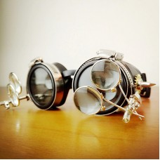 Steampunk Metal Motorcycle Goggles with Magnifying Lenses